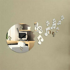 DIY Musical Note Acrylic Clock Mirror Wall Home Decal Decor Art Sticker New Hot