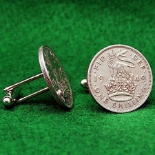 British Crest Shilling KGVI Coin Cufflinks, Imperial Crown Lion Great Britain UK