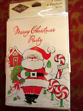 NEW Vtg 70s Paper Art CHRISTMAS PARTY Invitation Cards pack of 8 w/envelopes