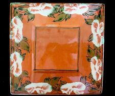 "Romancing Provence Peach Floral Square Dinner Plate 10"" Made in France SIgned"
