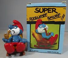 VINTAGE 1980s BOXED SCHLEICH PEYO SUPER SMURF PAPA SMURF IN ROCKING CHAIR #40228