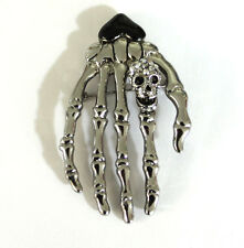 Butler and Wilson Small Skeleton Hand with Skull  Brooch Silver Tone New