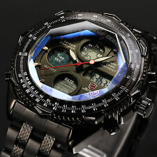 SHARK Black Stainless Steel Analog LCD Digital Men's Army Sport Quartz Watch