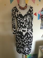 Diane Von Furstenberg Classic Wrap Black /white Print Silk Dress Size 12 Uk