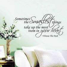 Winnie The Pooh Quote Sometimes The Smallest Things Wall Sticker Vinyl Decal