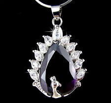 WHITE GOLD PLATED DIAMANTE PEACOCK BIRD PENDANT NECKLACE USE SWAROVSKI CRYSTALS