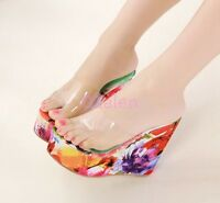Womens Ladies Hot Platform Open Toe Wedge Heel Slip On Floral Mule Sandals Clear