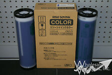 2 Genuine Riso S-4394 Medium Blue Ink OEM Risograph GR RC RA FR RP RN RP3700
