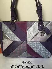 NWT Coach Purple Silver Patchwork Gallery Suede Leather Canvas Tote Shoulder Bag