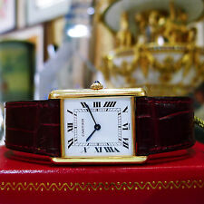 CARTIER Tank Solid 18k Gold Roman Numeral Unisex Watch MINT!
