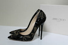 New sz 7 / 37 Jimmy Choo Anouk Flocked Leather Studs Point Toe Heel Pump Shoes