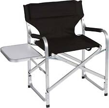 Black Aluminum Folding Director's Chair with Side Table by Trademark Innovations