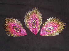pink peacock sequin Motif Lace Wedding Dance costume Sew On hotfix Applique