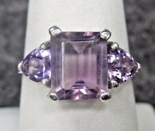 Amethyst Emerald Cut and Trillion Sterling Silver Ring size 9.25
