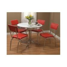 Red Dining Set Table 4 Chairs Retro Vintage Metal Chrome Kitchen Dinette Diner