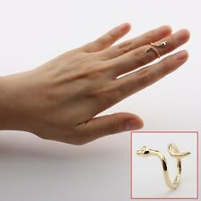 Celebrity snake/viper Above the Knuckle Ring/Top of Finger Midi Ring Gold o