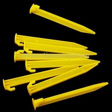 5 YELLOW DURABLE PLASTIC CAMPING & AWNING TENT SAND GROUND PEGS STAKES NAILS