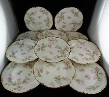 Eleven Haviland China Bread Plates Pink Roses w/ Gold Trim