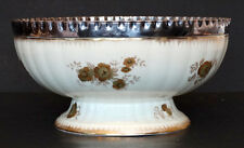 Antique 1800s WEDGWOOD Bone China PUNCH BOWL Gold painted & SILVER RIM