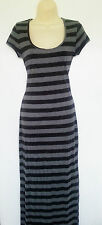 RUBY ROCKS black/grey striped tshirt maxi dress. Size S rrp £50