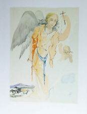SALVADOR DALI- GUARDIAN ANGEL AND CROSS-UNSIGNED LITHOGRAPH -1980's -WOVE