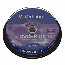 VERBATIM DVD+R DL DUAL LAYER RECORDABLE BLANK DISCS 10 SPINDLE 8.5GB 8X SPEED