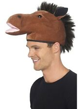 Unisex Brown Horse Hat with Mane Stag Night Hen Night Fancy Dress Animal Party