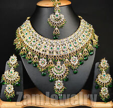Handmade Beautiful Necklace Set E#5 Indian Jewelry Wedding Party Green