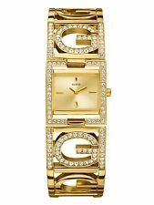 New GUESS Gold Tone Bangle Women's Watch w/ Rectangular Face U13530L1. W/ box