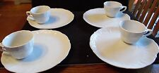 Set Of 4 Snack Plate & Cup Set in White Champagne Grapes L & M Lipper & Mann