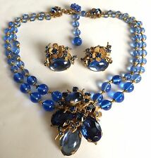 Vintage Miriam Haskell Necklace & Earrings Set~Blue Glass/RS/Gilt Filigree~Sign