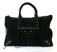 BALENCIAGA Black Suede Classic WEEKENDER Motorcycle City Travel Bag
