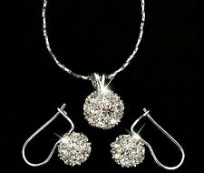 18k White Gold GP Crystal CZ Zircon gem Ball Necklace Earrings Wedding Set S2a
