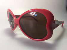 New MOSCHINO CHERRY RED Heart Sunglasses mod. MO598-05s in red for Women w/ case