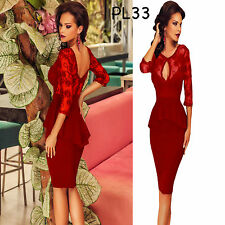 Sz 12 14 Red 3/4 Sleeve Formal Peplum Cocktail Party Bodycon Club Slim Fit Dress