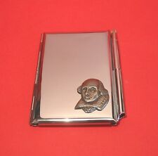 Shakespeare Chrome Notebook / Card Holder & Pen Theatre Literary Christmas Gift