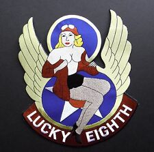 LUCKY EIGHTH NOSE ART PIN UP USAF LARGE EMBROIDERED JACKET PATCH 9.7 INCHES
