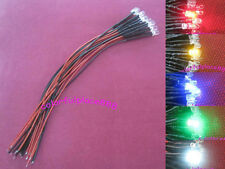 50pcs 5mm Red Yellow Blue Green White 9V 12V DC Pre-Wired Water Clear LED 20CM