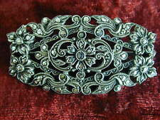 Vintage 935 Silver Marcasite intricate filigree floral Brooch Lapel Pin Art Deco