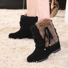Fashion Women Hidden Wedges Thick Snow Boots Bowknot Black Shoes Winter Boots 39