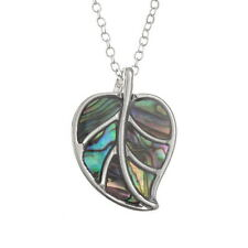 Inlaid Paua Shell Leaf Pendant on Silver Chain Necklace - Two Tone