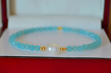 NATURAL Light Blue Faceted AQUAMARINE/PEARL Bangle Bracelet 14K Yellow Gold