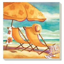 Counter Art 87029 Sunkissed Sandy Beach Chairs Absorbent Stoneware Coaster Set 4