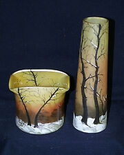 Outstanding c1910 Original Pair Legras Art Nouveau Winter Scene Art Glass Vases