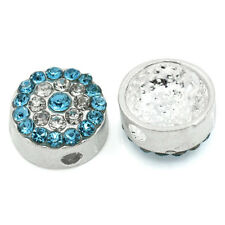 5PCs Beads With Rhinestone Round Silver Plated 10mm Dia