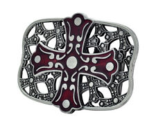 RED Celtic Iron Cross Maltese Belt Buckle Painted Metal Cool Gothic Unique