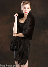 """100% Real Women Brown Knit Mink Fur Long Shawl Scarf Wrap Winter 71""""X23.6""""inches"""