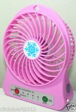 Portable Mini Rechargeable LED Light Fan With Battery & USB Cable-Pink