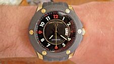 Swiss Legend Men's Automatic Traveler Watch Black Dial Polyurethane Strap Gold