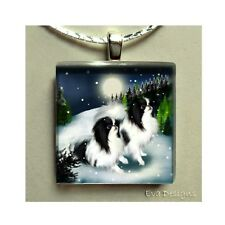 JAPANESE CHIN DOGS WINTER GLASS TILE PENDANT NECKLACE WITH CHAIN